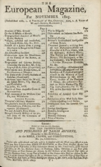 The European Magazine. Vol. XLVIII, November, 1805