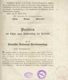 Petition um Schutz gegen Beschränkung des Verkehrs. An die Deutsche National=Versammlung