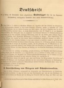 Denkschrift des zu Elbing in September 1848 abgehaltenen Städtetages über die der National=Versammlung …