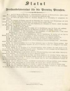 Statut des Freihandelsvereins für die Provinz Preußen