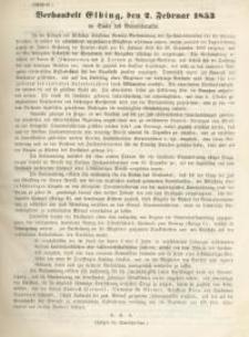 Verhandelt Elbing, den 2. Februar 1853 im Saale des Gemeinderaths. Auszug (A) . Einem Hohen Königlichen Staatsministerium (B). Autrag (C)