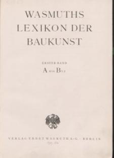 Wasmuth Lexikon der Baukunst. Bd. 1: A-B