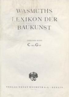Wasmuth Lexikon der Baukunst. Bd. 2: C-G