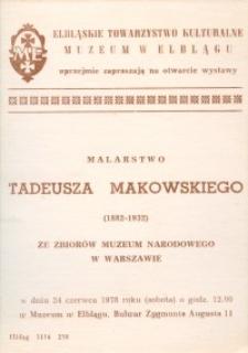 Tadeusz Makowski - Wystawa Malarstwa w Muzeum w Elblągu - zaproszenie
