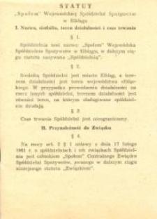"""Statut """"Społem"""" Wojewódzkiej Spółdzielni Spożywców w Elblągu z 1980 r. - biuletyn"""