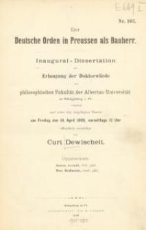 Der Deutsche Orden in Preussen als Bauherr : Inaugural – Dissertation zur Erlangung der Doktorwürde der …