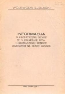 Informacja o Zaopatrzeniu Rynku w IV Kwartale 1975 r. i Gromadzeniu Rezerw Zimowych Na Sezon 1975/1976 - broszura