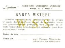 """Karta Wstępu WSS """"Społem"""" - kupon"""