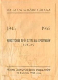 Powszechna Spółdzielnia Spożywców w Elblągu; Walne Zgromadzenie Delegatów - broszura