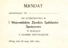Mandat Na Wojewódzki Zjazd Spółdzielni Spożywców - upoważnienie