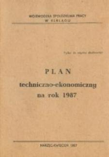 Plan Techniczno-Ekonomiczny Wojewódzkiej Spółdzielni Pracy Na Rok 1987 - broszura