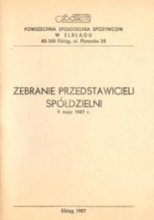 """Zebranie Przedstawicieli Członków """"Społem"""" Powszechnej Spółdzielni Spożywców w Elblągu - broszura"""
