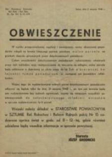 Obwieszczenie Składania Wniosków w Sprawie Wydzierżawiania Wolnych Parcel Powiat Sztum - afisz