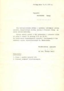 Dyżury w Urzędzie Gminy Na Okres Żniwno-omłotowy w 1975 r. - druk