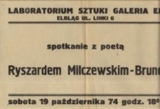 Ryszard Milczewski-Bruno – spotkanie z poetą w Galerii EL – afisz