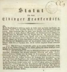 Statut für das Elbinger Krankenstift