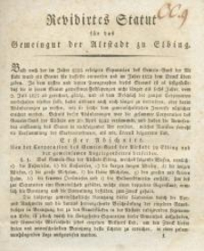Revidirtes Statut für das Gemeingut der Altstadt zu Elbing