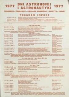 VI Dni Astronomii i Astronautyki we Fromborku, Grudziądzu, Lidzbarku Warmińskim, Olsztynie i Toruniu w 1977 r.; Program imprez.