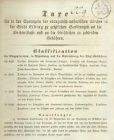 Taxe der in den Sprengeln der evangelisch=lutheranischen Kirchen in der Stadt Elbing zu geistlichen Handlungen an die Kirchen=...