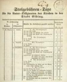 Stolgebühren=Taxe für die Unter=Offizianten der Kirchen in der Stadt Elbing