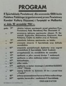 II Spartakiada Powiatowa w Malborku – afisz