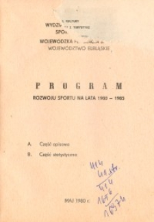 Program rozwoju sportu na lata 1980-1985 - biuletyn