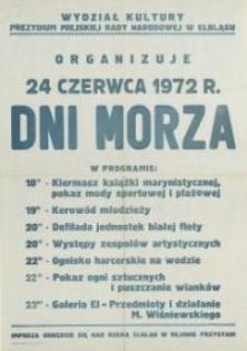 Dni Morza Program Obchodów w Elblągu w 1972 r. - afisz