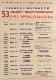 Program Obchodów Pięćdziesiątej Trzeciej Rocznicy Międzynarodowego Dnia Spółdzielczości w 1975 r. - afisz