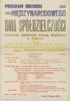 Program Obchodu Międzynarodowego Dnia Spółdzielczości w 1961 r. w Malborku - afisz