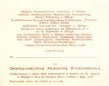Okolicznościowa Akademia Środowiskowa z Okazji Dnia Budowlanych w Elblągu w 1974 r. - zaproszenie