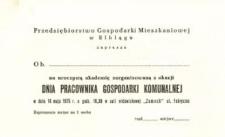 Uroczysta Akademia z Okazji Dnia Pracownika Gospodarki Komunalnej w Elblągu w 1975 r. - zaproszenie