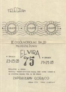 """II Ogólnopolski Rajd Młodzieżowy """"Elwira 1975"""" - ulotka"""