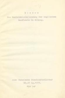Die Handelsniederlassung der englischen Kaufleute in Elbing