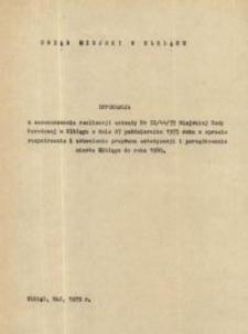 Informacja z zaawansowania realizacji uchwały nr IX/44/75 MRN w Elblągu z dnia 27.10.1975 r. - broszura