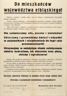 Do mieszkańców województwa elbląskiego! – afisz