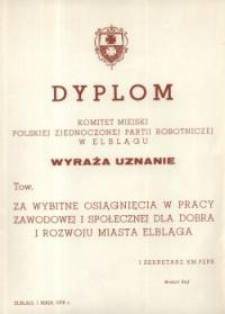 PZPR – dyplom uznania i podziękowania z dnia 1.05.1976 r.