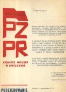 PZPR – dyplom uznania i podziękowania z dnia 13.10.1977 r.