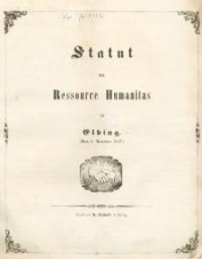 Statut der Ressource Humanitas zu Elbing