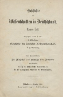Geschichte der Deutschen Rechtswissenschaft. Bd 18/2