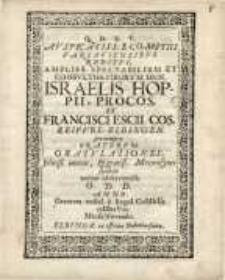 Q.D.B.V. Auspicatiss ecomitiis varsaviensibus reditvi, ampliss. spectabilium et consultiss virorum Dnn.Israelis Hoppii...