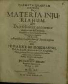 Themata quaedam juridica, De Materia injuriarum...