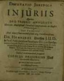 Disputatio juridica de in juriis quam deo triuno annuente ...