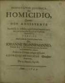 Disputatio juridica, De homicidio quam deo adsistente...