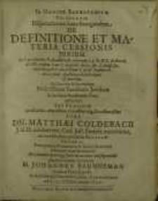 Disputationem hanc Inauguralem De Definitione Et Materia Cessionis Jurium...