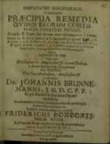 Disputatio inauguralis continens Praecipua remedia qvibus reorum contumacia ...