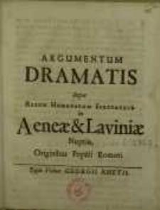 Argumentum Dramatis Super Rerum Humanarum Spectaculo in Aeneae & Liviniae Nuptiis, Originibus Populi Romani