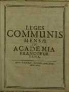 Leges communis mensae in Academia Francofurtana