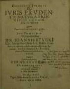 Disputatio iuridica, De Iuris prudentiae natura, principiis ac constitutione...