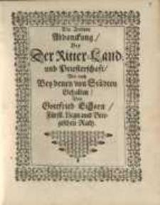 Die Andere Abhanckung, bey der Ritter-Land und Priesterschaft, wie auch bey denen von...