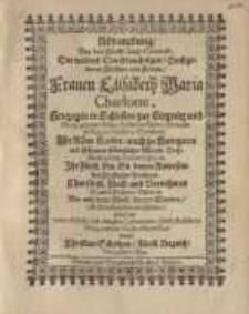 Abdanckung bey dem Fürstl. Leich-Conduct der Fürstin Elisabeth Maria Charlotte...